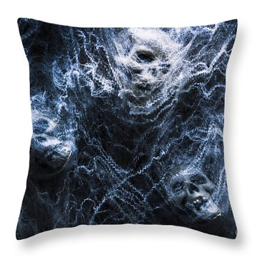 Skulls Tangled In Fear Throw Pillow