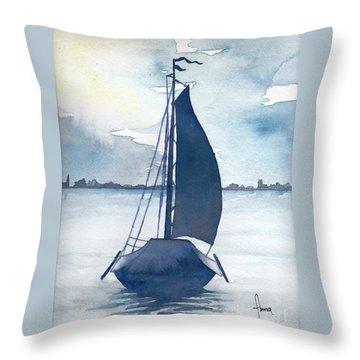 Skutsje No.2 Throw Pillow by Annemeet Hasidi- van der Leij