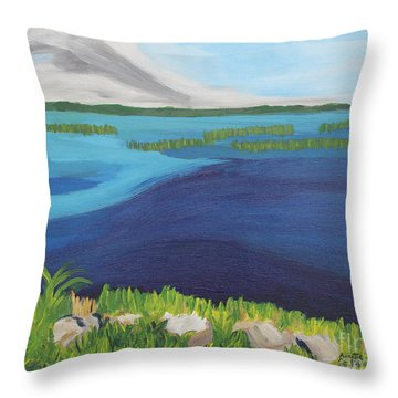 Serene Blue Lake Throw Pillow