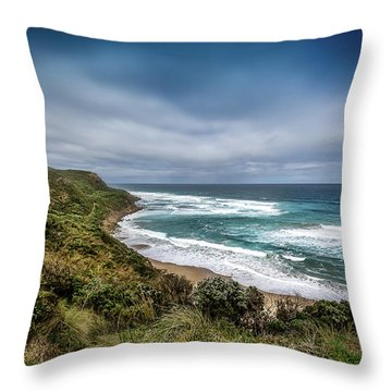 Throw Pillow featuring the photograph Sky Blue Coast by Perry Webster