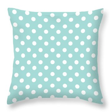 Sky Blue Polka Dots Throw Pillow
