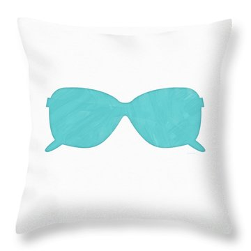 Sky Blue Sunglasses- Art By Linda Woods Throw Pillow