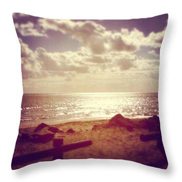 #sky #clouds #beach #beautiful Throw Pillow
