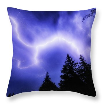 Sky Lightning Throw Pillow