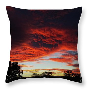 Throw Pillow featuring the photograph Sky On Fire by Angela DeFrias