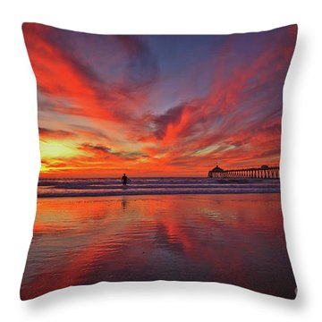 Sky On Fire At The Imperial Beach Pier Throw Pillow