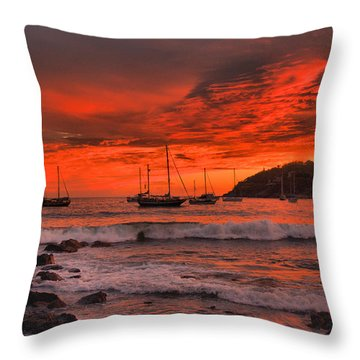 Throw Pillow featuring the photograph Sky On Fire by Jim Walls PhotoArtist