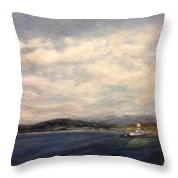The Port Of Everett From Howarth Park Throw Pillow