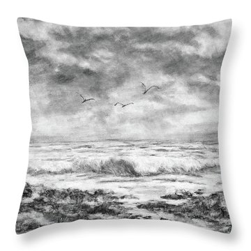 Sky Rocks And Water Throw Pillow