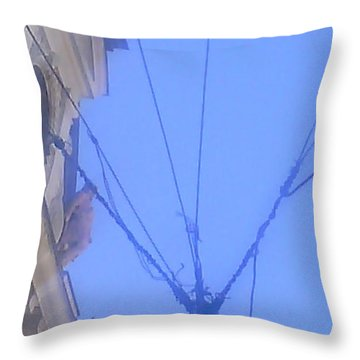 sky seen throu wires in Belgrade Throw Pillow by Anamarija Marinovic