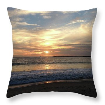 Throw Pillow featuring the photograph Sky Swirls Over Toes Beach by Lorraine Devon Wilke