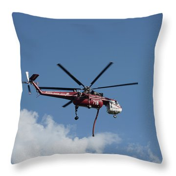 Skycrane Works The Red Canyon Fire Throw Pillow