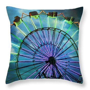 Skydiver At Night Throw Pillow by Sylvia Cook