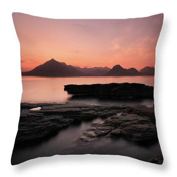 Throw Pillow featuring the photograph Skye Sunset Afterglow by Grant Glendinning