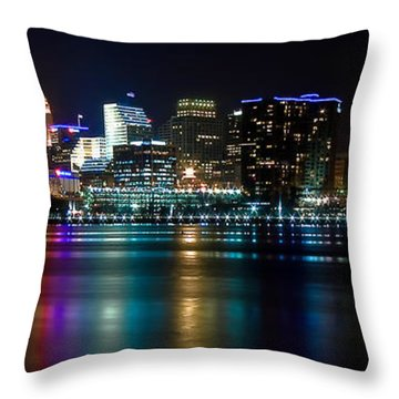 Skyline At Night Throw Pillow