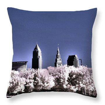 Skyline Cleveland, Ohio Throw Pillow by Bob LaForce