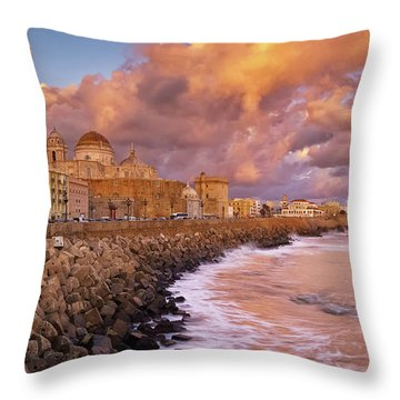 Skyline From Campo Del Sur Cadiz Spain Throw Pillow