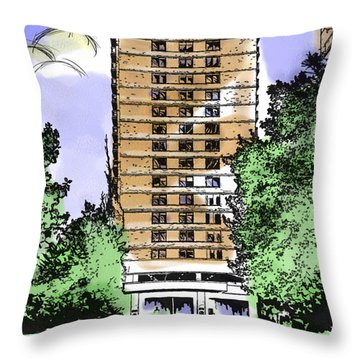 Skyline House Condo Throw Pillow