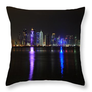 Skyline Of Doha, Qatar At Night Throw Pillow