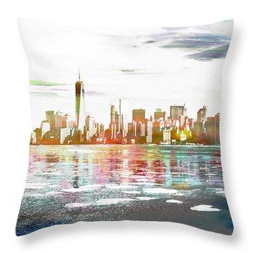 Skyline Of New York City, United States Throw Pillow