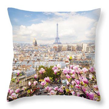 skyline of Paris with eiffel tower Throw Pillow