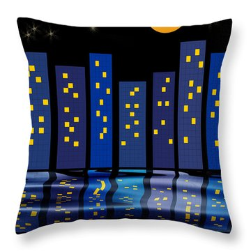 Skyline Reflections Throw Pillow by Arline Wagner