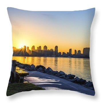 Skyline Sunrise Throw Pillow by Joseph S Giacalone
