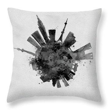 Black Skyround / Skyline Art Of Tokyo, Japan Throw Pillow