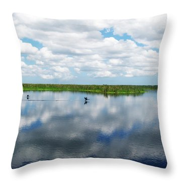 Skyscape Reflections Blue Cypress Marsh Conservation Area Near Vero Beach Florida C2 Throw Pillow