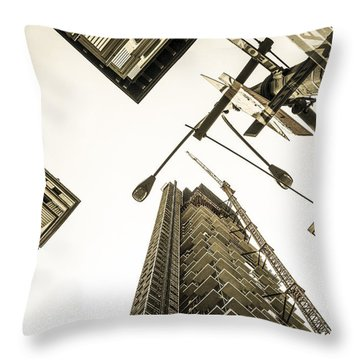 Skyscrapers In New York Seen From Throw Pillow by Perry Van Munster