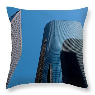 Throw Pillow featuring the photograph Skyscrapers Reflect Los Angeles by Lorraine Devon Wilke