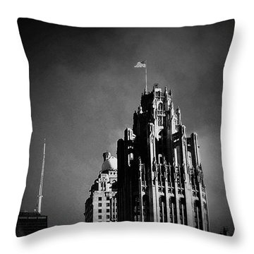 Skyscrapers Then And Now Throw Pillow by Frank J Casella