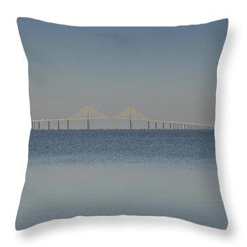 Skyway Bridge In Blue Throw Pillow by David Lee Thompson