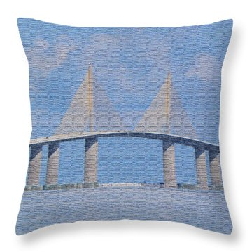 Throw Pillow featuring the photograph Skyway Bridge by Rosalie Scanlon