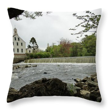 Slater Mill And Dam Throw Pillow
