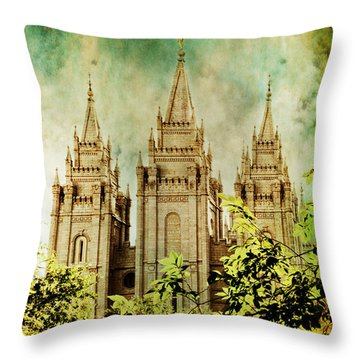 Slc Vintage Green Throw Pillow by La Rae  Roberts