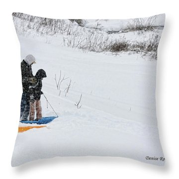Sledding Throw Pillow by Denise Romano