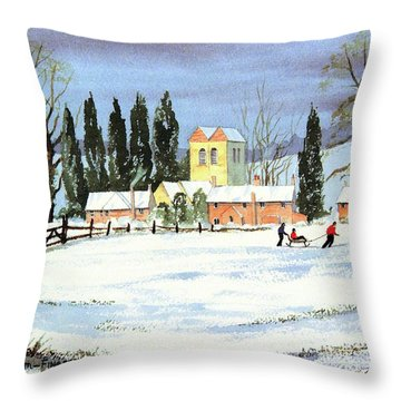 Sledding With Dad Throw Pillow by Bill Holkham