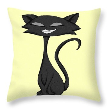 Sleek Cat Chuckling Throw Pillow