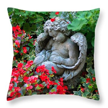 Sleeping Angel Throw Pillow by Sue Melvin
