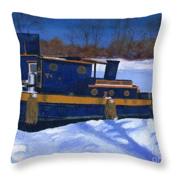 Sleeping Barge Throw Pillow
