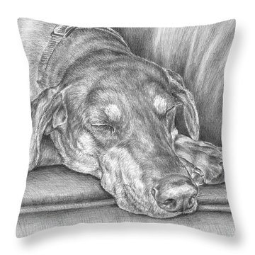 Sleeping Beauty - Doberman Pinscher Dog Art Print Throw Pillow