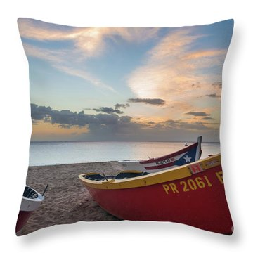Sleeping Boats On The Beach Throw Pillow