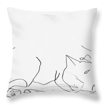 Sleeping Cat II Throw Pillow by Leela Payne