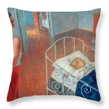 Sleeping Child Throw Pillow by Kuzma Sergeevich Petrov Vodkin