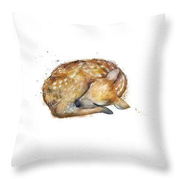 Sleeping Fawn Throw Pillow by Amy Hamilton