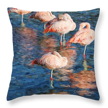 Sleeping Flamingos In Water Digitally Painted Photo Throw Pillow