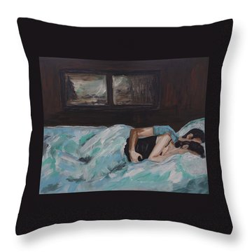 Sleeping In Throw Pillow by Leslie Allen