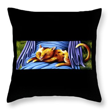 Sleeping Kitty Throw Pillow