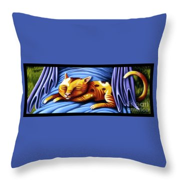 Throw Pillow featuring the painting Sleeping Kitty by Valerie White